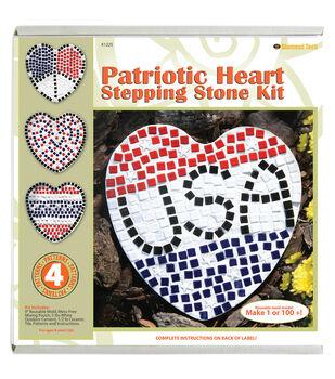 Mosaic Stepping Stone Kit-Patriotic Heart