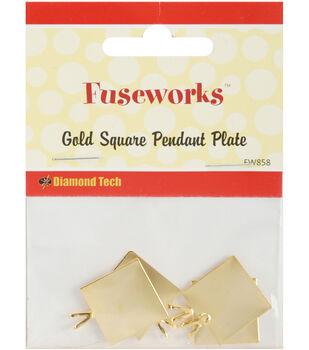 "Diamond Tech Crafts Fuseworks Findings-Pendant Square 11/16"" 4PK Many Colors"