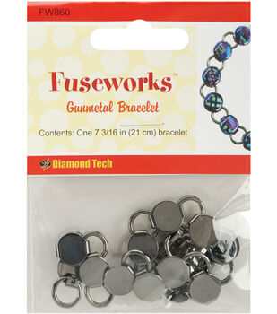"Diamond Tech Crafts Fuseworks Findings-Gunmetal Link Bracelet 7-3/16"""