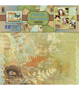 """Paper Pack 12""""X12"""" 12 Sheets/6 Designs, 2 Each-Nature's Watercolors"""