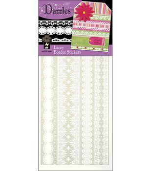 Hot off the Press Dazzles Stickers-Lacy Border White
