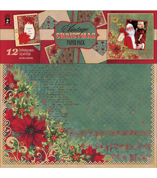 """Paper Pack 12""""X12"""" 2 Each-Vintage Christmas"""