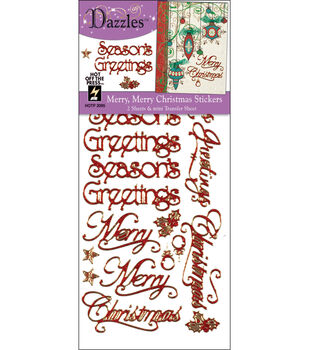 Hot off the Press Dazzles Stickers--Merry Merry Red Glitter