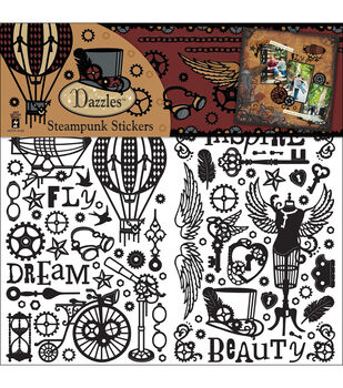 "Dazzles Stickers 6""X9"" 3 Sheets-Black Steampunk"