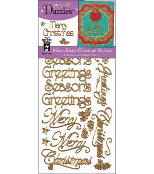 Hot off the Press Dazzles Stickers--Merry Merry Gold Glitter