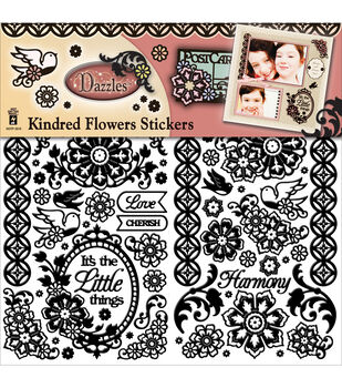 Dazzles Stickers 2/Pkg-Black Kindred Flowers