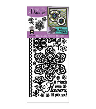 Dazzles Stickers-Black Lacy Flowers