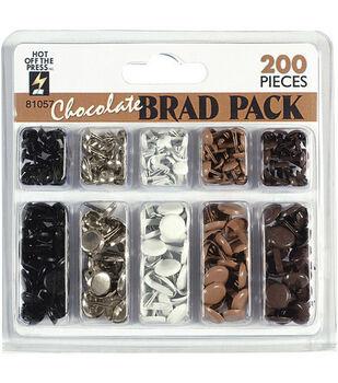 Hot Off The Press Brads-200PK/Chocolate
