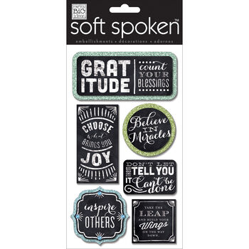Me & My Big Ideas Soft Spoken Themed Embellishments Gratitude Chalkboard