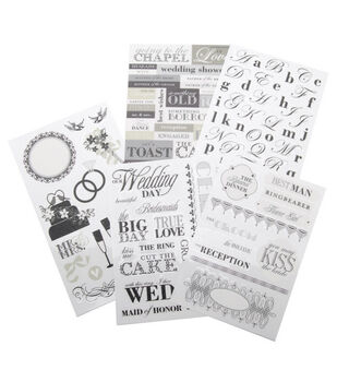 Me & My Big Ideas Sticker Packs-Black & White Wedding