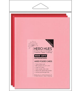 Hero Arts 5-1/2''x4-1/4'' Folded Cards-12PK/Blush Mix