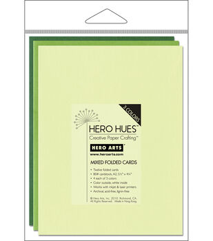 Hero Arts 5-1/2''x4-1/4'' Folded Cards-12PK/Foliage Mix