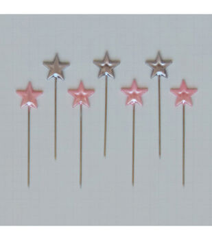 Maya Road Silver and Pink Star Trinket Pins 50/Pkg