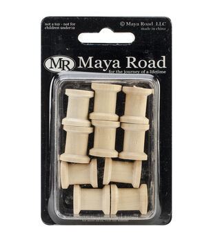 Maya Road Beading Spool Wood Shapes 10/Pkg