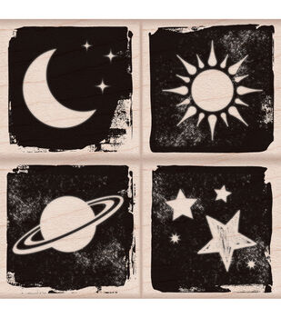 "Hero Arts Mounted Rubber Stamp Set 3""X3""-Moon & Stars"