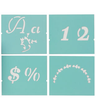 "Martha Stewart Large Alphabet Stencil-Italic Flourish-Font Size 1-3/8"""