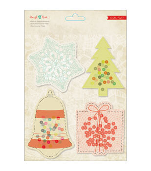 Sleigh Ride Vellum Embellishments 4/Pkg-With Sequins