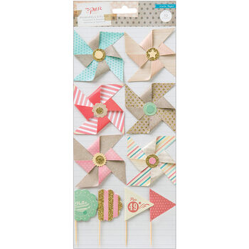 Crate Paper The Pier Layered Embellishments Pinwheels& Flags