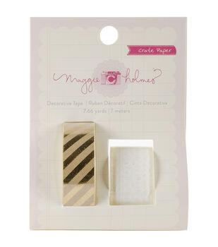 Styleboard Decorative Tape 7.66 Yards-Lace & Gold Foil On Kraft