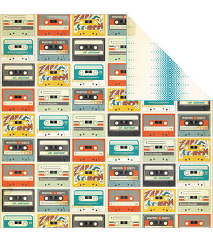 """Boys Rule Double-Sided Cardstock 12""""X12""""-Mix Tape"""