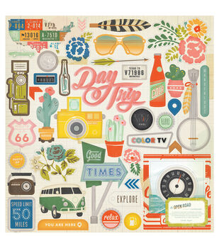 "Open Road Chipboard Stickers 12""X12""-Accents"