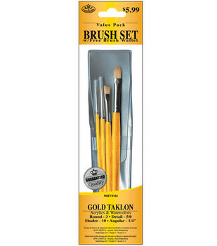 Brush Set Value Pack Gold Taklon 4/Pkg