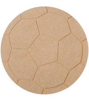 "MDF Wood Shape Soccer Ball 9.1""x9.1"""