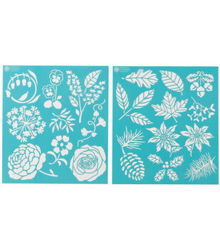 Martha Stewart Medium Stencils 2 Sheets/Pk-Four Seasons