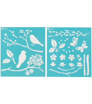 Martha Stewart Medium Stencils 2 Sheets/Pk-Birds/Berries