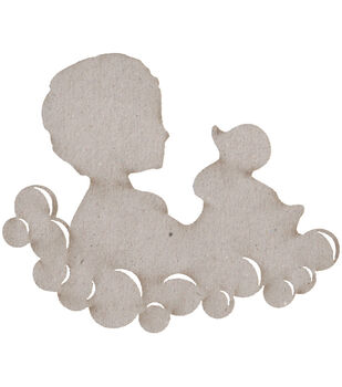 Die-Cut Grey Chipboard Embellishments-Child & Duck In Bubbles