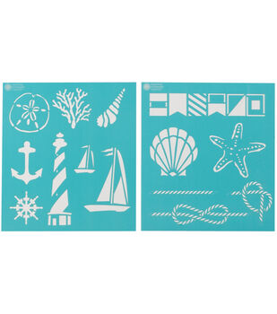 Martha Stewart Medium Stencils 2 Sheets/Pk-Nautical Study