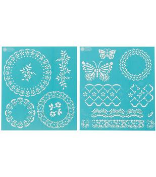 Martha Stewart Medium Stencils 2 Sheets/Pk-Eyelet Lace