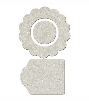 Fabscraps Die-Cut Grey Chipboard Embellishments Flower Shape