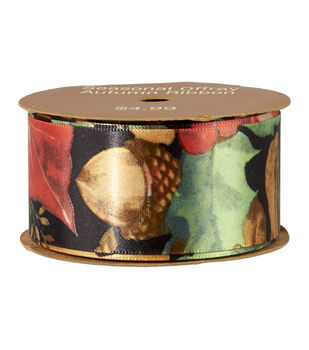 """Autumn Ribbon 1-1/2"""" Leaves and Acorn"""