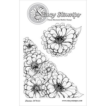 Stacy Stamps Cling Mounted Stamps Zinnias