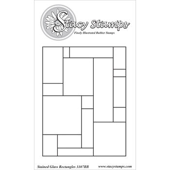 Stacy Stamps Cling Mounted Stamps Stained Glass Rectangles