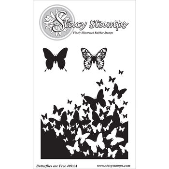 Stacy Stamps Cling Mounted Stamps Butterflies Are Free