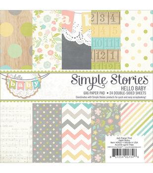 "Simple Stories Paper Pad 6""X6"" 24/Pkg-Hello Baby"