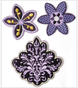Kaisercraft Embroidered Badges-3PK/Lilac Avenue