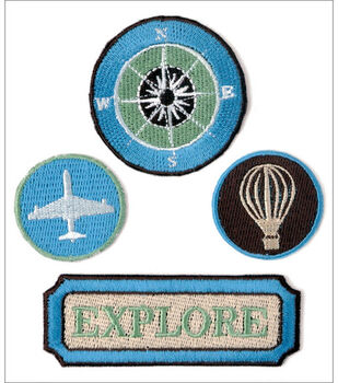 Kaisercraft Embroidered Badges-4PK/Pack Your Bags