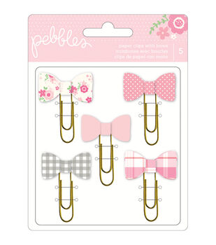 Special Delivery Girl paper Clips W/Bows 5/Pkg-
