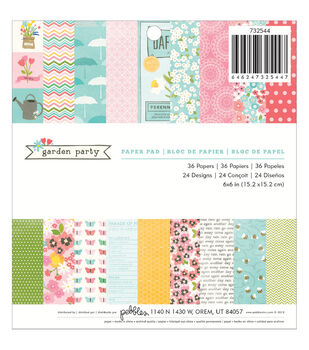 """Garden Party paper Pad 6""""X6"""" 36/Sheets-24 Designs"""