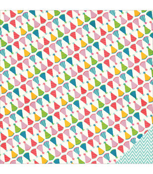 """Birthday Wishes Double-Sided Cardstock 12""""X12""""-Party Hat"""