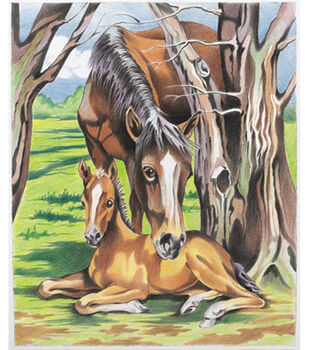 Reeves Color By Number Kit 9''x12''-Horse & Foal