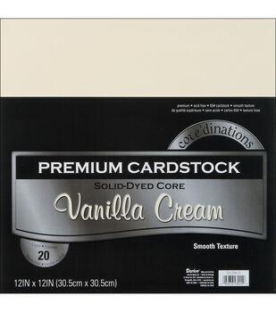 "Core'dinations Value Pack Cardstock 12""X12"" 20/Pkg-Vanilla Cream-Smooth"