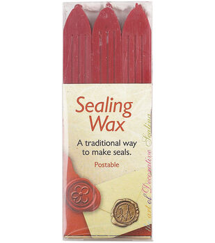 Manuscript Traditional Seal Wax Sticks W/Wicks 3/Pkg-Red