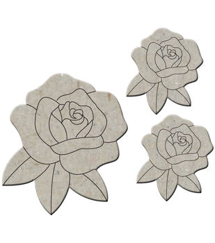 "Die-Cut Grey Chipboard Embellishments-Roses 3/Pkg, Up To 2.75""X2.75"""