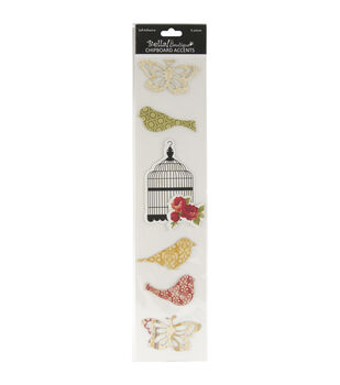 Bella! Boutique Self-Adhesive Chipboard Accents 6/Pkg-Family