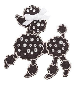 Simplicity Iron-On Applique-Jeweled Black Poodle W/Rhinestones