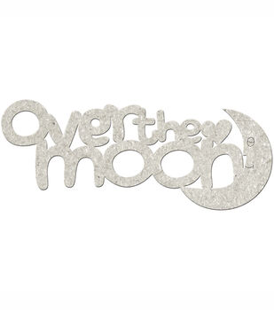 Fabscraps Die-Cut Grey Chipboard Word Over The Moon